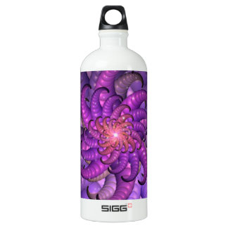 Purple Space Anemone Fractal Abstract Art Aluminum Water Bottle
