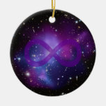 Purple Space Image Double-Sided Ceramic Round Christmas Ornament