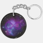 Purple Space Image Double-Sided Round Acrylic Keychain