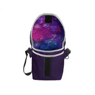 Purple space traveller spatial galaxy painting messenger bag