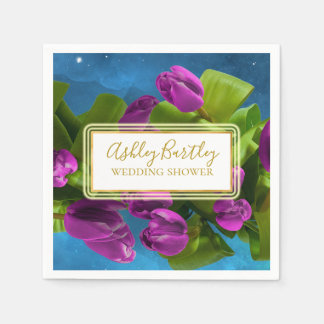 Purple Space Tulips and Glowing Label Paper Napkin