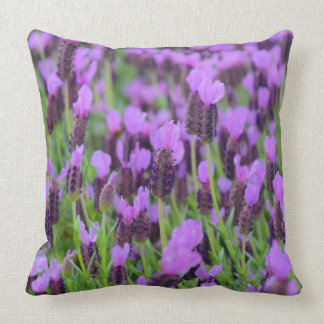 Purple Spanish Lavender Flower Throw Pillow