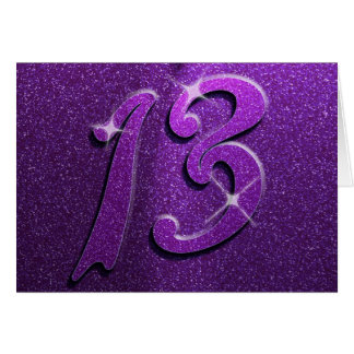 Purple Sparkle 13th Birthday Greeting Card