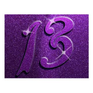 Purple Sparkle 13th Birthday Greeting Postcard