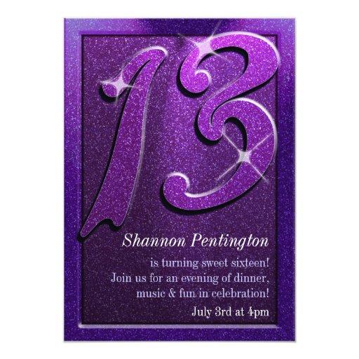 purple sparkle 13th birthday party invitations