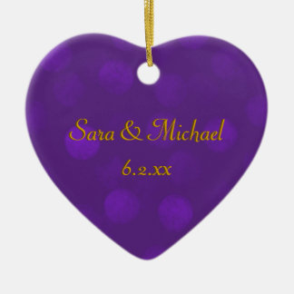 Purple Sparkle Custom Double-Sided Heart Ceramic Christmas Ornament