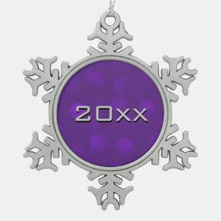 Purple Sparkle Custom Snowflake Pewter Christmas Ornament