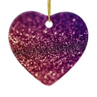 Purple sparkle glitter heart Christmas ornament