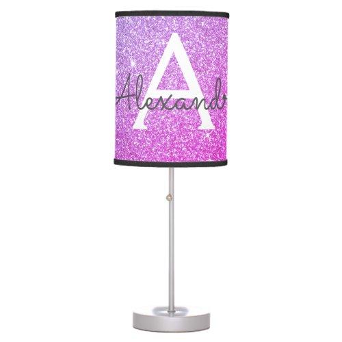 Purple Sparkle Glitter Monogram Name Table Lamp