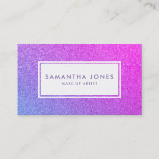 Purple Sparkle Glitter Pink Girly Make Up Artist Business Card