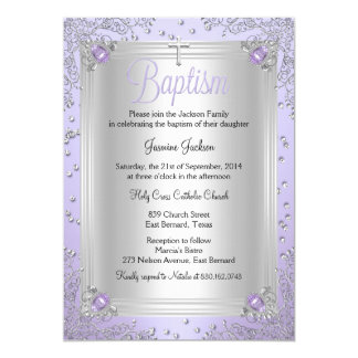 Purple Sparkle Jewel Baptism Christening Card