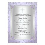 "Purple Sparkle Jewel Baptism/Christening Invite 5"" X 7"" Invitation Card"