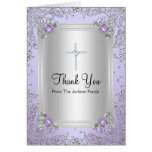 Purple Sparkle Jewel Baptism Thank You Card