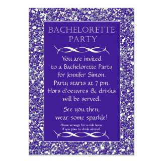 Purple Sparkle Look Bachelorette Party Invitation