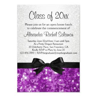 "Purple Sparkle-look Bow Graduation Invitation 5"" X 7"" Invitation Card"