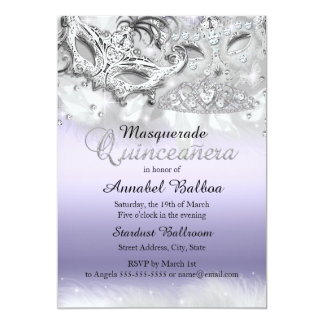 Purple Sparkle Masquerade Quinceanera Invite