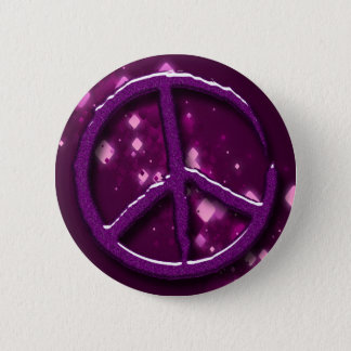 PURPLE SPARKLE PEACE SIGN BUTTON