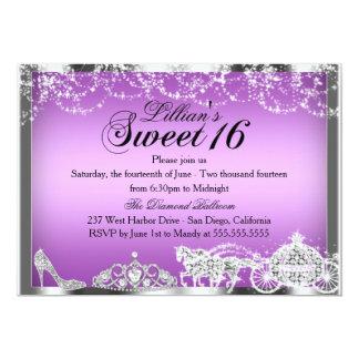Purple Sparkle Princess Theme Sweet 16 Invite