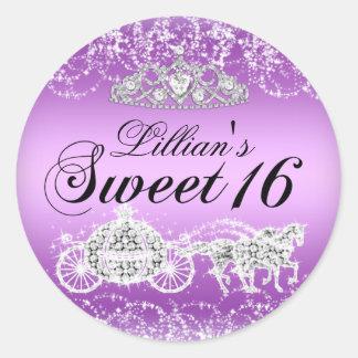 Purple Sparkle Princess Theme Sweet 16 Sticker