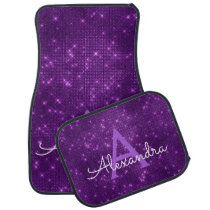 Purple Sparkle Shimmer Monogram Name Initial Car Floor Mat