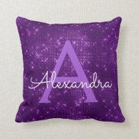 Purple Sparkle Shimmer Monogram Name & Initial Throw Pillow