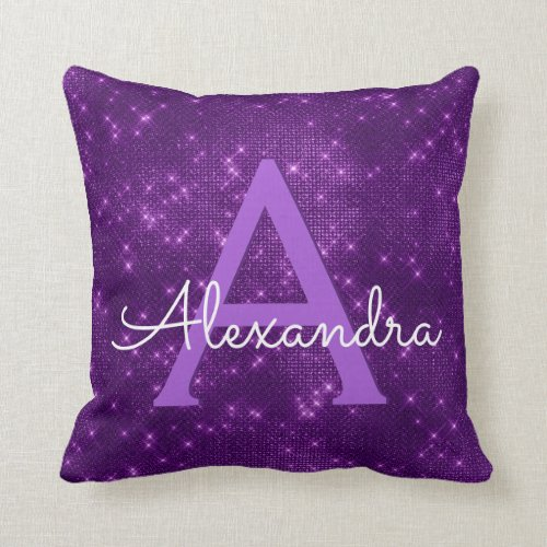 Purple Sparkle Shimmer Monogram Name  Initial Throw Pillow