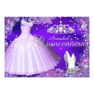 Purple Sparkle Tiara & Dress Quinceanera Invite