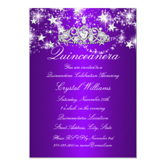 Purple Sparkle Tiara & Stars Quinceanera 5x7 Paper Invitation Card