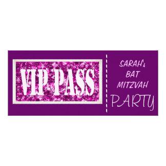 Purple sparkle VIP Bat Mitzvah party Personalized Announcements