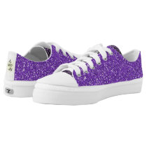 Purple Sparkle with Animal Print Low-Top Sneakers