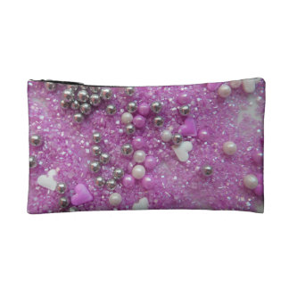 Purple Sparkles and Love Hearts Cosmetic Bag