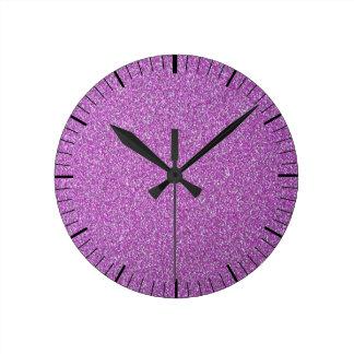 Purple Sparkles Background Add Your Own Round Clock