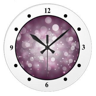 Purple Sparkles Light Design Large Clock