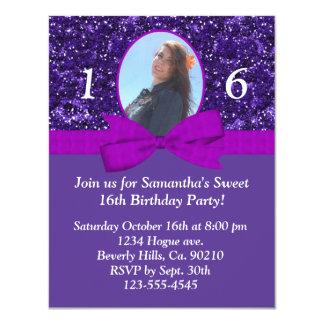 Purple Sparkles Magenta Bow Sweet 16 Add Photo Card