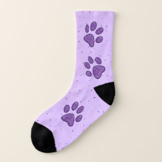 purple sparkling cat paw pring - socks