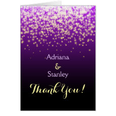 Purple sparkling lights wedding Thank You Cards