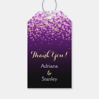 Purple sparkling lights wedding Thank You Gift Tags