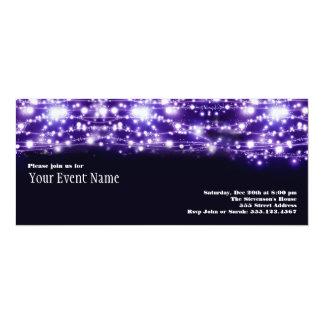 "Purple Sparkling Stars Invitation 4"" X 9.25"" Invitation Card"