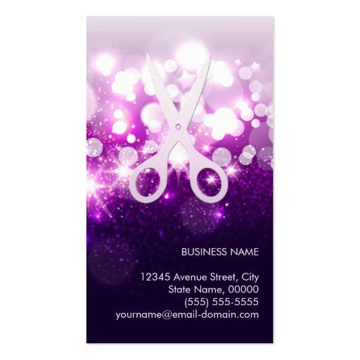 Purple Sparkly and Glitter Scissors - Hair Stylist Business Cards (back side)