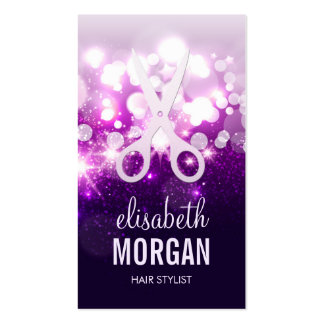Purple Sparkly and Glitter Scissors - Hair Stylist Double-Sided Standard Business Cards (Pack Of 100)