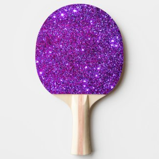 Purple Sparkly Glam Glittery Girly Table Tennis Ping-Pong Paddle