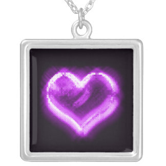 Purple Sparkly Heart Neckalcelace Silver Plated Necklace