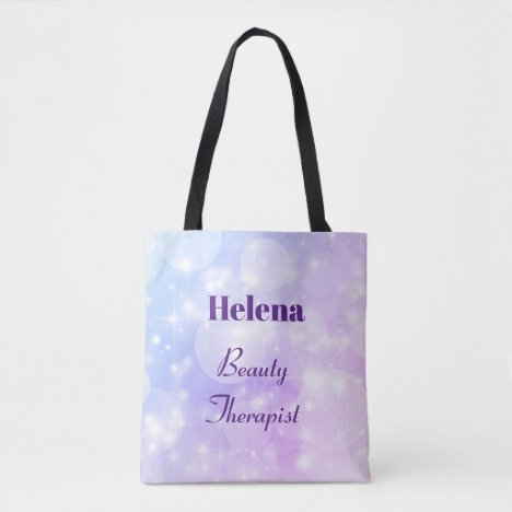 Purple Sparkly Personalised Beauty Therapist Tote Bag