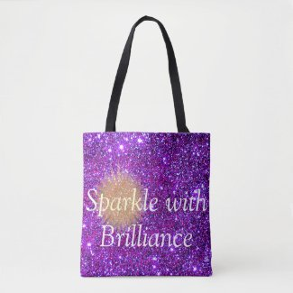 Purple Sparkly Princess Glittery Inspirational Tote Bag