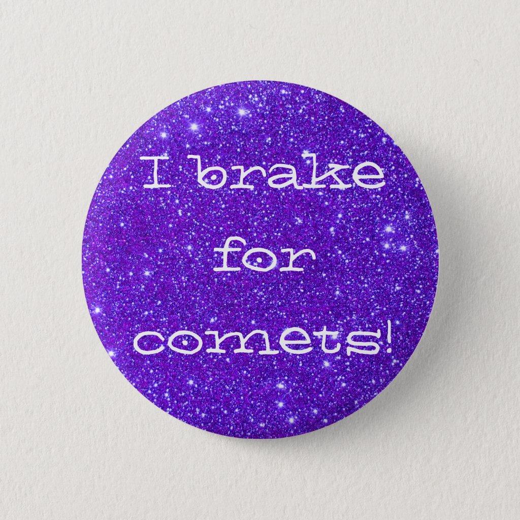 Purple Sparkly Sparkle Glitter Comets CricketDiane Button