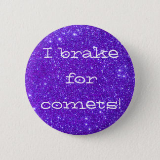 Purple Sparkly Sparkle Glitter Comets CricketDiane Button