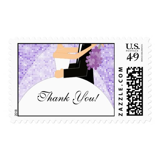 Purple Sparkly Thank You Bridal Shower Postage | Zazzle