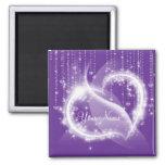 Purple Sparkly White Heart Refrigerator Magnet