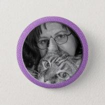 purple speckles frame pinback button
