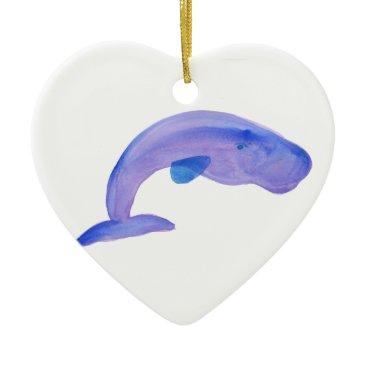 Beach Themed Purple Sperm Whale Ceramic Ornament